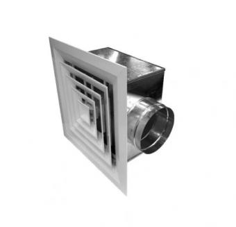 Диффузор потолочный с камерой статического давления 4АПР+3КСД 300x300